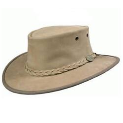 Barmah Foldaway BRONCO Full grain Leather Hat - Hickory