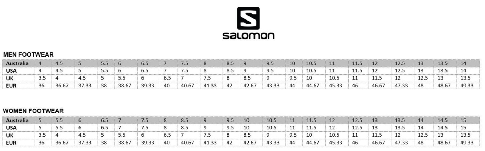 Image result for salomon s/lab footwear size chart