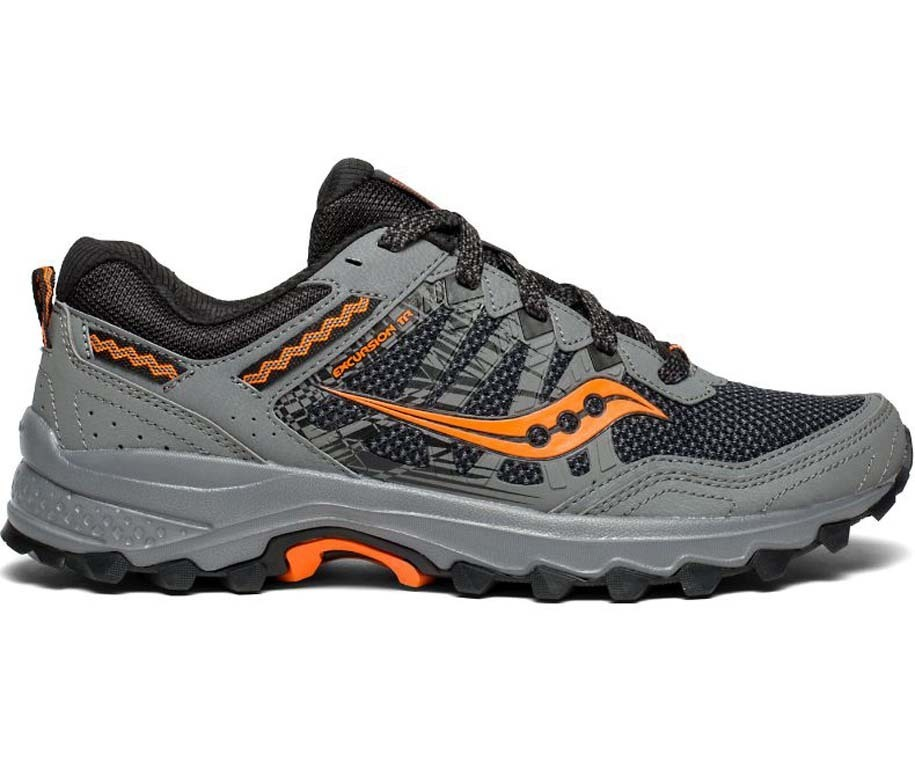 Saucony Excursion TR12 Mens Trail Running Shoes - Grey Orange ... 778a1f78e0