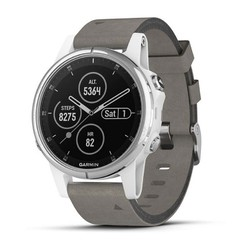 Garmin Fenix 5S Plus GPS Watch - Sapphire White with Gray Suede Band