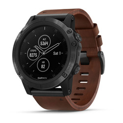 Garmin Fenix 5X Plus GPS Watch - Sapphire Slate Gray with Brown Leather Band