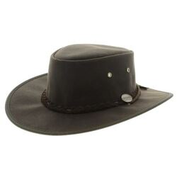 Barmah Drover Oilskin Waterproof Wide Brim Hat- Brown