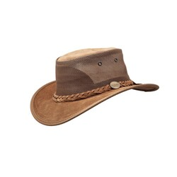 Barmah Foldaway Cooler Leather Hat - Hickory Brown