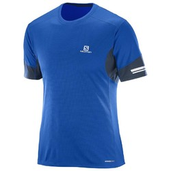 Salomon Agile Mens Short Sleeve Running Tee  - Blue Yonder/ Big Blue-X