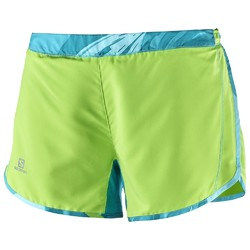 Salomon Agile Womens Running Shorts - Green Flash Blue Bird