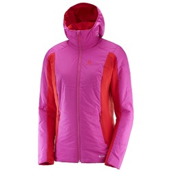 Salomon Drifter Womens Mid Hoodie Fleece - Rose Violet Flame Scarlet