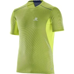 Salomon Trail Runner Short Sleeve Tee Mens - Acid Lime/DreShort Sleeve Blue