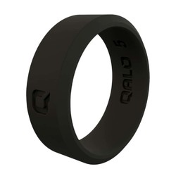 QALO Womens Modern Black Q2X Silicone Ring