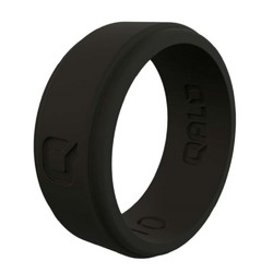 QALO Mens Black Flat Step Q2X Silicone Ring