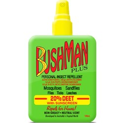 Bushman Plus Pump Spray 20% Deet Insect Repellent with Sunscreen -100 ml