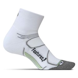 Feetures Elite Max Cushion Quarter Running Sock - White/Black