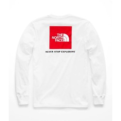 The North Face Long Sleeve Red Box Mens Tee - TNF White/TNF Red