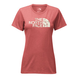 The North Face Womens Short Sleeve Half Dome Crew - Sunbaked Red Heather/Vintage White Coyotes Print