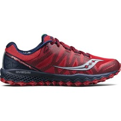 Saucony Peregrine 7 Mens Trail Running Shoes-Red/Navy