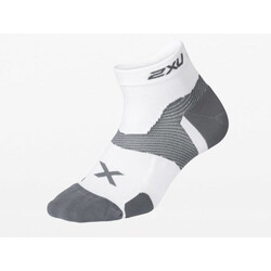 2XU Vectr Cushion 1/4 Crew Compression Socks - White/Grey