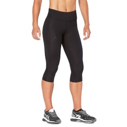 2XU Womens Mid-Rise Compression 3/4 Tights - Black/Dotted Black Logo