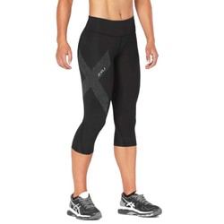2XU Womens Mid-Rise Compression 3/4 Tights - Black/Dotted Reflective Logo
