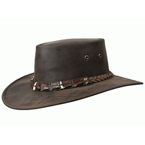 47e4fcba60502 Barmah Outback Crocodile Teeth Leather Hat - Brown