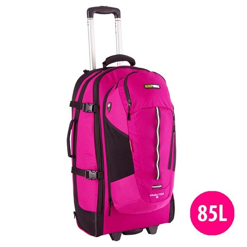 Black Wolf Grand Tour 85L Wheeled Travel Backpack and Daypack - Magenta