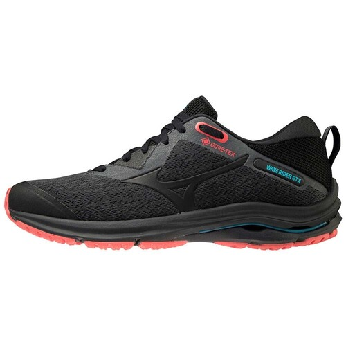 Mizuno Wave Rider 2 GTX Womens Waterproof Road Running Shoes - D.Shadow/Black/F.Coral