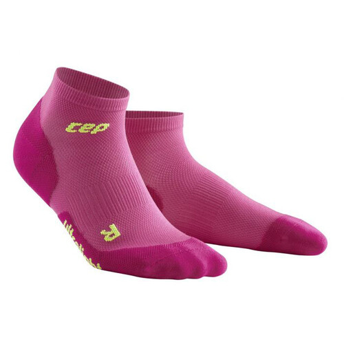 CEP Dynamic+ Ultralight Low-Cut Women's Compression Socks - Electric Pink/Green
